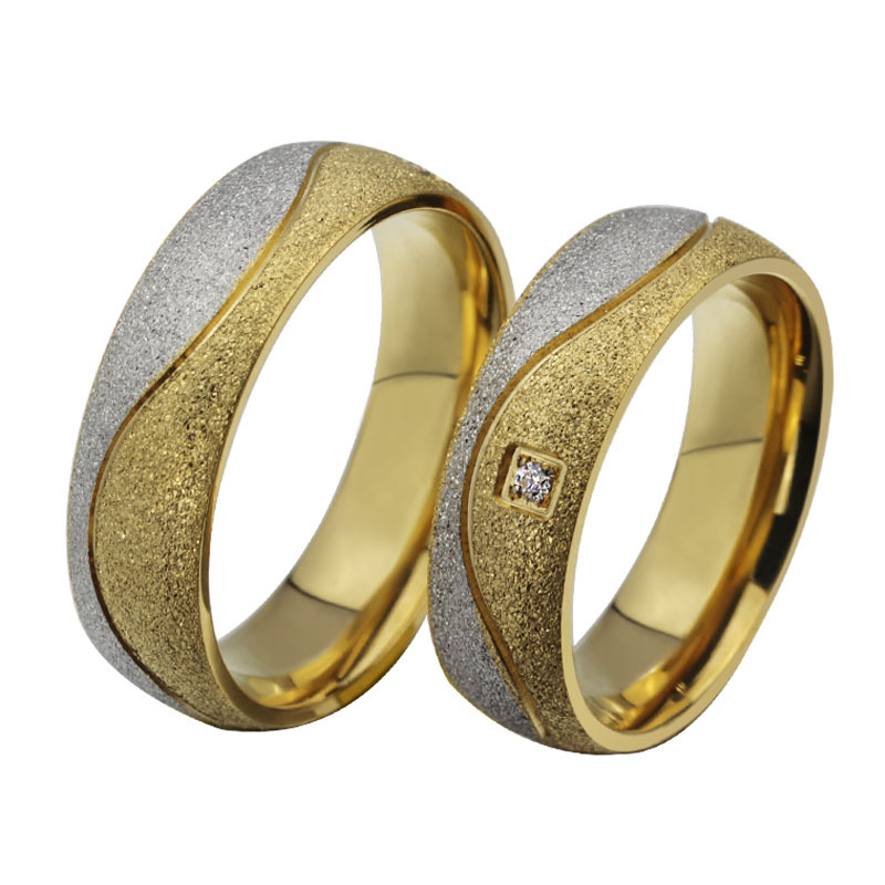 AndyChen Fashion CZ Diamond Couple Rings For Men Women Gold Plated