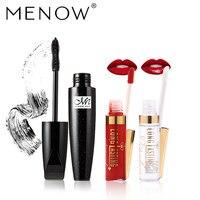 MENOW Brand Make Up Set Black Mascara Waterproof Thick Long Lock Color 2 In 1 Waterproof