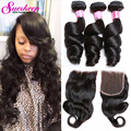 Malaysian Virgin Hair With Closure 3 Bundles With Closure Loose Wave Human Hair With Closure Malaysian Loose Wave With Closure