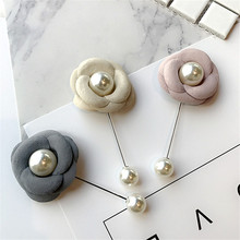 Korea Handmade Modern Flower Simulated Pearl Brooches Pins Badges Fashion Jewelry For Woman Suits Accessories-YHGWBH003F