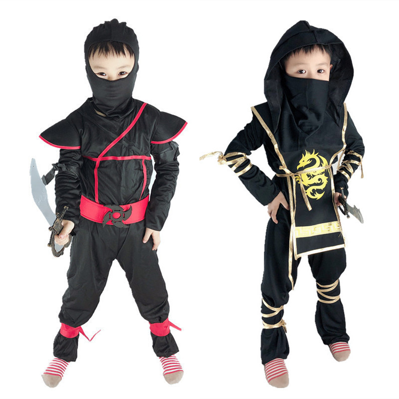 Japanese Night Ninja Wushu Clothing Kids Martial Arts Uniform Hooded Black Kung Fu Clothes Judo Jiu Jitsu