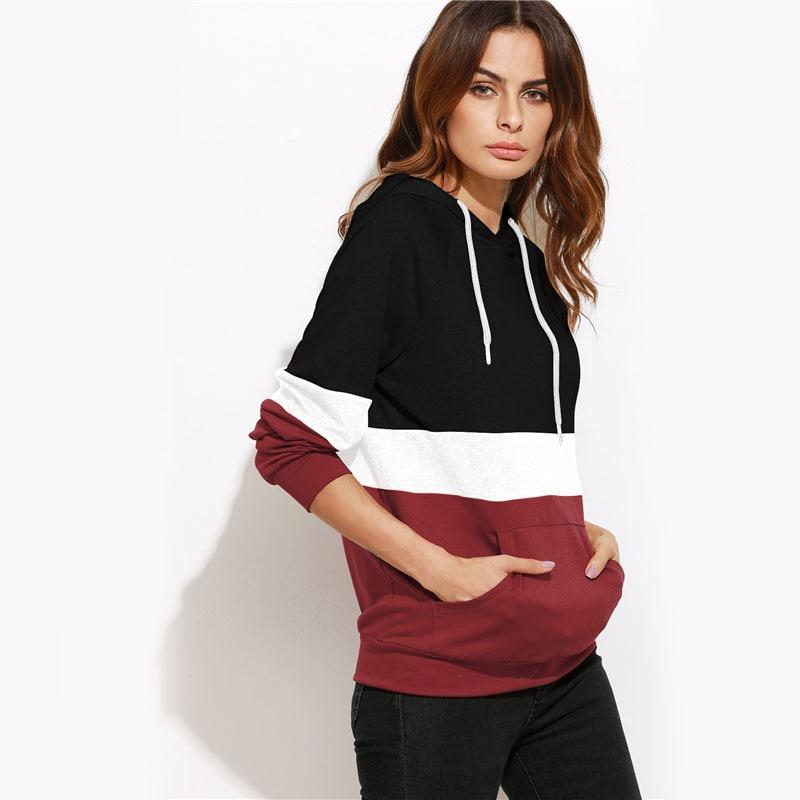 Cut and Sew Raglan Sleeve Pocket Hoodie For Women