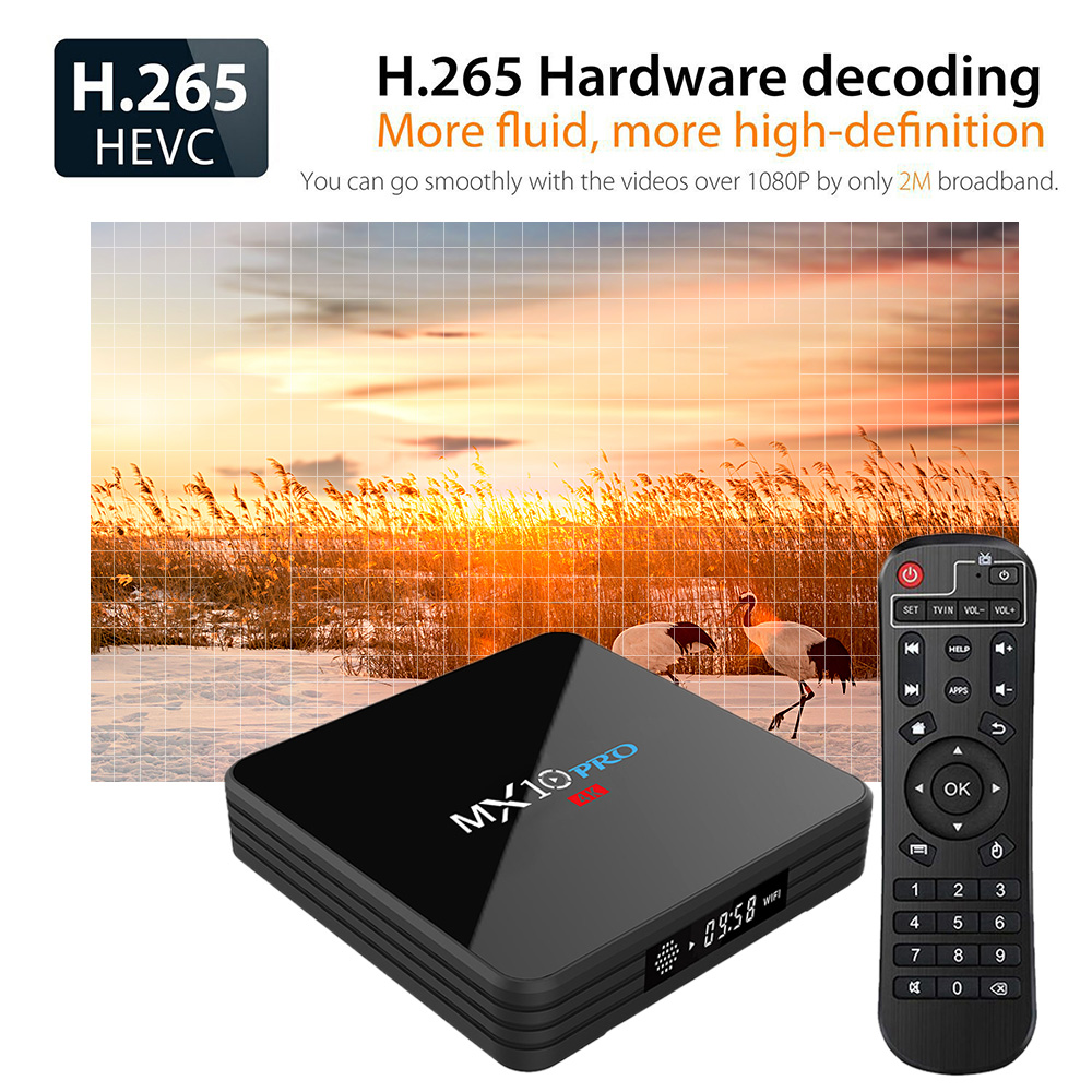 US $48 99 |MX10 PRO TV Box With Digital Display Set Top Box Android 8 1 4GB  RAM 32GB ROM 2 4G 5G WiFi Media Player BT4 1 Support 4K H 265-in Set-top
