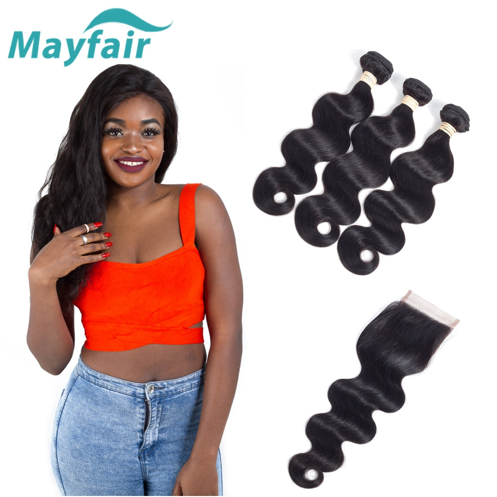Mayfair Hair Body Wave Bundles With Lace Closure Bazilian Hair Weave Bundles With Closure Human Hair With 4*4 Lace Closure