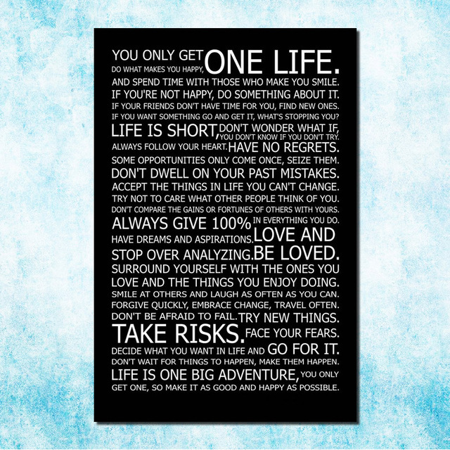 Love Your Life Motivational Inspirational Quotes Art Silk Canvas