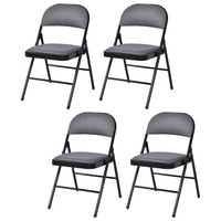 Set of 4 Fabric Upholstered Padded Seat Folding Chairs Modern Living Room Leisure Chair HW54164