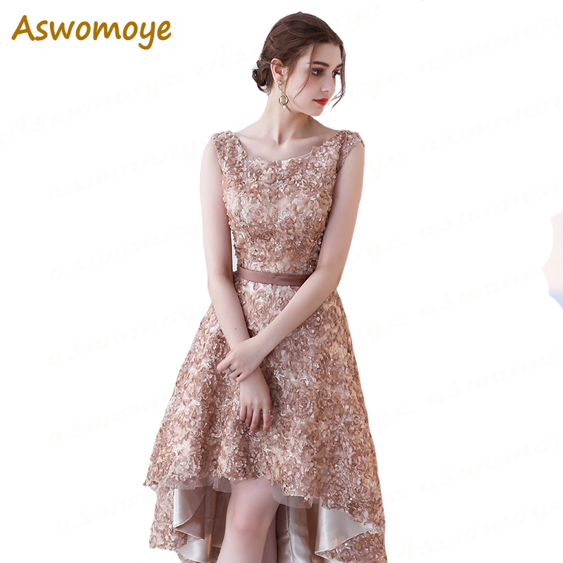 Aswomoye Short Front Long Back Evening Dress Elegant Party Dresses Lace Prom Dress Wedding Appliques Floral robe de soiree