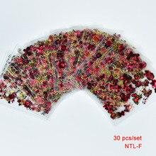 30 PCS מכירה לוהטת 2018 חדש הגעה אופנה פרפר 3D מים נייל מדבקת ציפורניים נשלפים אמנות מדבקות יופי אבזר 5*6.