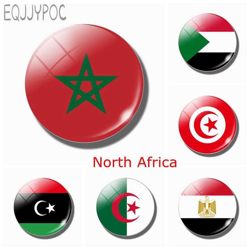 Morocco Cờ 30 MM Nam Châm Tủ Lạnh Bắc Phi Ai Cập Sudan Libya Tunisia Kính Dán Từ Tính Chủ Tủ Lạnh Trang Trí