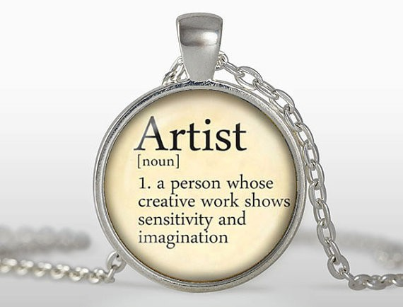 New Fashion Dictionary Definition Of Word Artist Pendant Necklace Round Art Print Letters Pendants Glass Cabochon Necklaces HZ1