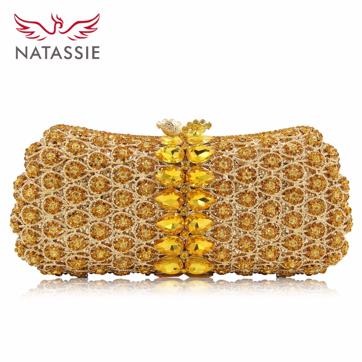Natassie New Design Crystal Party Bag Women Wedding Purse 4 Colors Different Diamonds Ladies Evening Bag Good Quality natassie new design luxury crystal clutch women evening bag gold red ladies wedding banquet party purses good quality