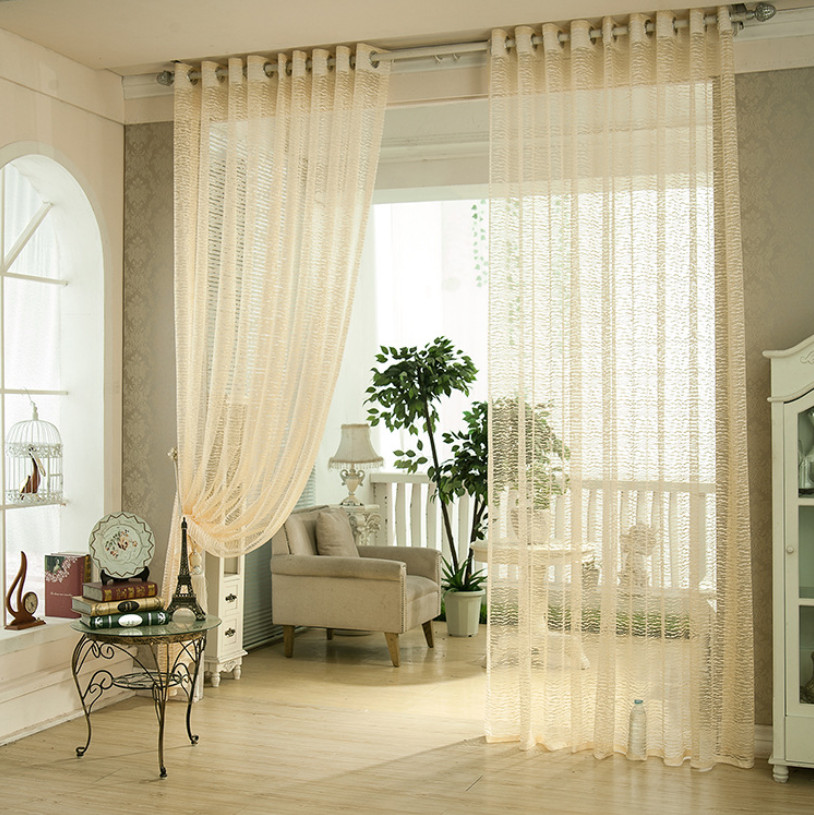 Rustic Fresh Creamy White Striped Translucent Curtain Fabric Window  Screening Curtain Embroidered Sheer Bedroom Balcony