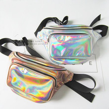 Funny pack women's Laser purse money belt reflective chest waist pouch women belt bag waist punk fanny designer waist fanny pack