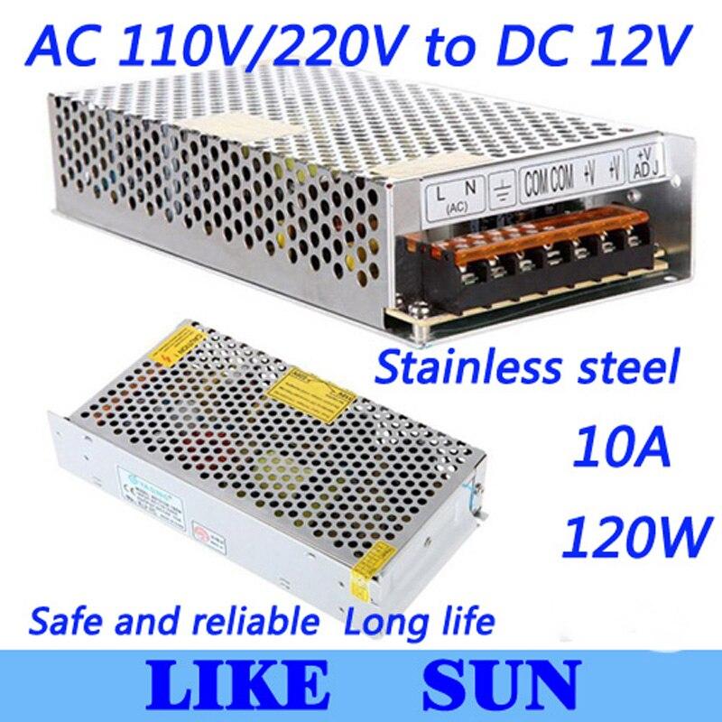 Высококачественный светодиодный импульсный источник питания Светодиодный источник питания 12 V 10A 120 W трансформатор 100-240 V
