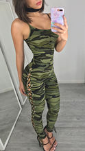 2018 Womens V-Neck Camouflage Print Jumpsuit Ladies Evening NightOut Party Side Lace Up Playsuit square neck lace up random floral print playsuit in navy