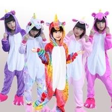 Купить с кэшбэком Boys pajamas kids flannel winter unicorn pajamas Pegasus Christmas pajamas pink girl cartoon animal hooded 4 6 8 10 12 Year