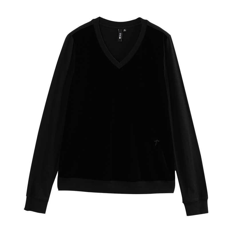 Toyouth Velvet Long Sleeve Top Women Korean Casual Top Loose Harajuku Streetwear V Neck T-shirt  Mujer Autumn New Tops 2019