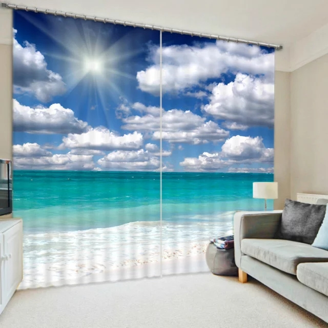 Sea Beach Design Blackout 3d Curtains For Bedding Room