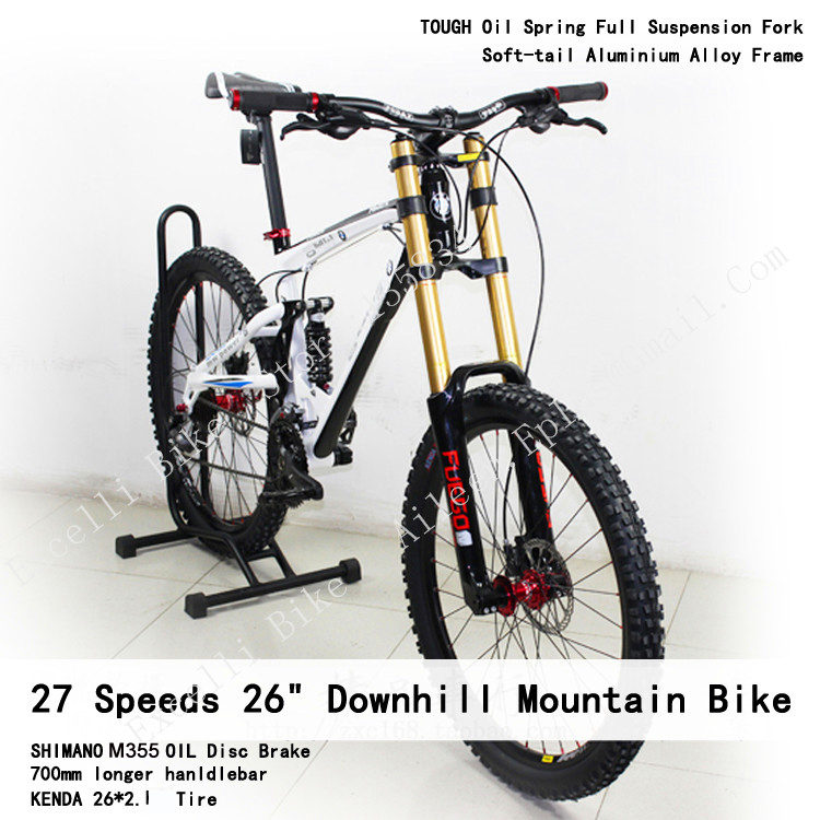 Excelli 27 Speeds 26*17.5 Downhill Soft-tail Bike Full Suspension Oil Disc Brake Bicicletas 2.3cm Tire DH Mountain Bike 26 hot sale dc12v 2 7a turbo blower fan 3 wire air volume large barbecue stove centrifugal for bbq cooking cooler fan