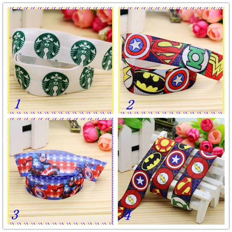 1'' Free Shipping Fold Elastic Foe Hero Coffee Printed Headband Headwear Diy Decoration Wholesale Oem 25mm S150