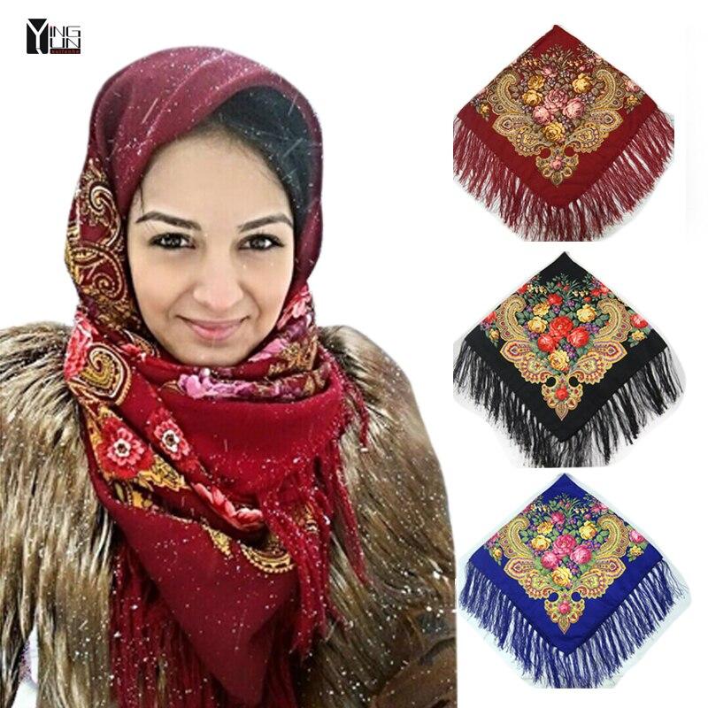 2017New moda mujer borla bufanda impresa de las mujeres marca Wraps ponchos y capes Venta caliente de las mujeres de la gasa bufanda mujeres invierno bufandas