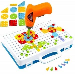 Image 5 - 子供ドリルゲームクリエイティブモザイク建物のパズルセット知的教育玩具電気ねじナットのためのツールキット