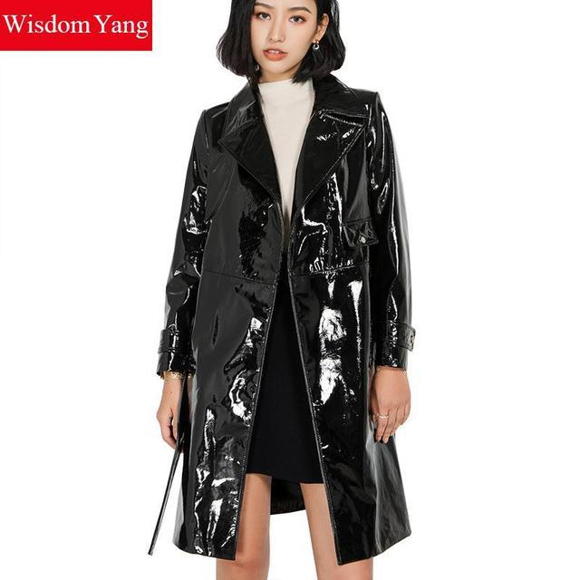 82cc79916c19 Autumn Black Real Sheepskin Genuine Patent Leather Trench Coat Womens Long  Belt Moto Windbreaker Overcoat Trench Coats Outerwear