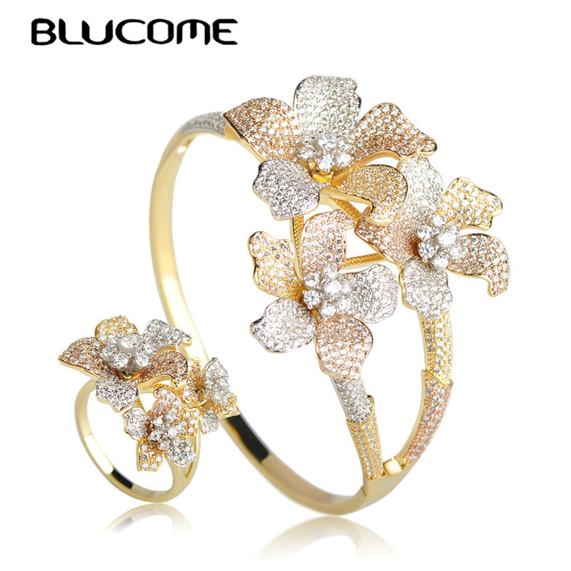 Blucome Classic Luxury Three Tones Color Flower Big Bangle Ring Set For Women Party Wedding Hand Accessories Copper Jewelry Set blucome vintage water drop green crystal jewelry sets for women party accessories turkish bronze color bangle ring earrings set