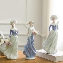 ceramic rural girls lady figurines home decor crafts room decoration kawaii ornament porcelain figurines vintage garden statue