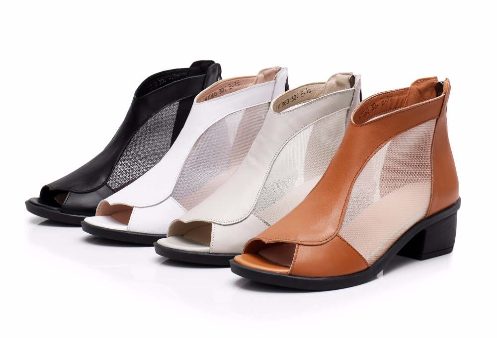 Women's Shoes Genuine Leather Summer Womens Sandals Spring Women Ankle Boots Big Size 41 42 43 Fashion Mesh Dress Sandals Female High Heels