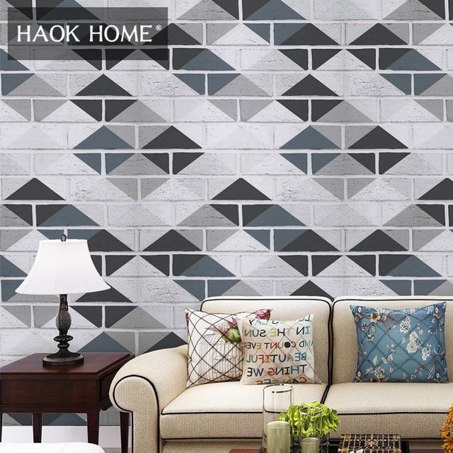 Haokhome White Brick Wallpaper Vinyl For Walls 3d Geometric White