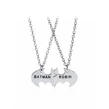 Classic Silver Batman Necklaces BATMAN ROBIN Lettering link Necklaces Best Friends Personalized Friendship Pendant Necklaces