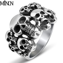 MINCN Titanium steel skull ring domineering man ghost head retro jewelry men