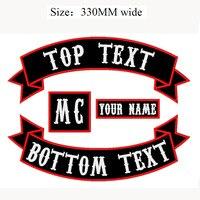 4 SZTUK 330 MM szerokości tkaniny odznaka Haftowane Żelazko Na lub Sew na Łacie Kurtka Biker Rocker taktyczne Naszywki na odzież