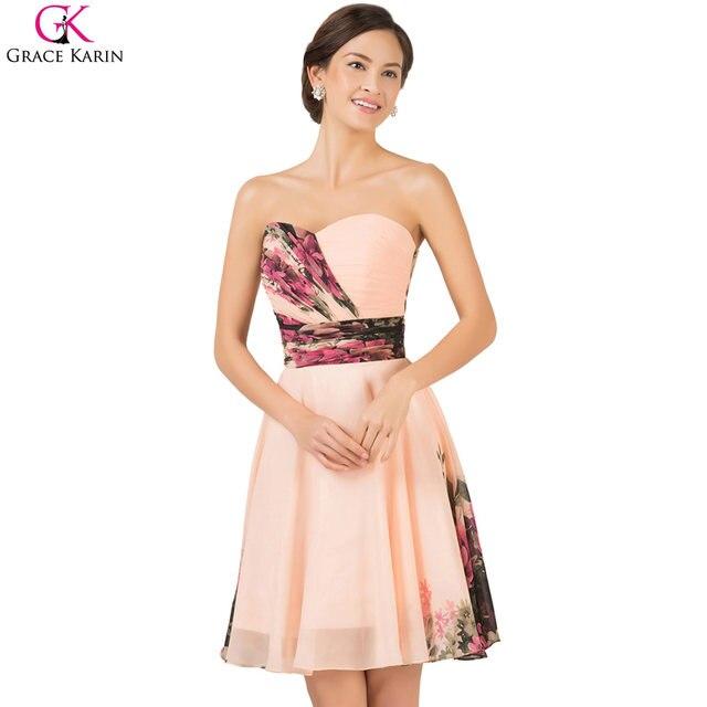 Online Shop Grace Karin Floral Flower Print Long Bridesmaid Dresses