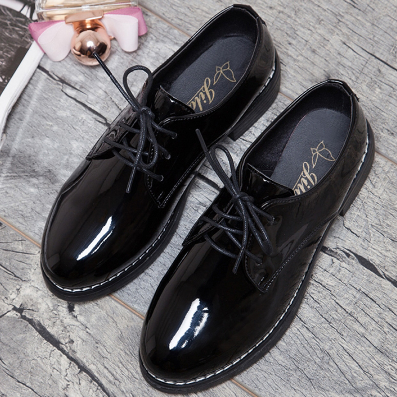 Moxxy Leather Oxford Shoes For Women Round Toe Lace-Up Casual Shoes Autumn Flat Loafers Shoes Womens Shoes Retro Brogues flat women autumn shoes woman casual lace up flats comfortable round toe loafers shoes flat shoes women