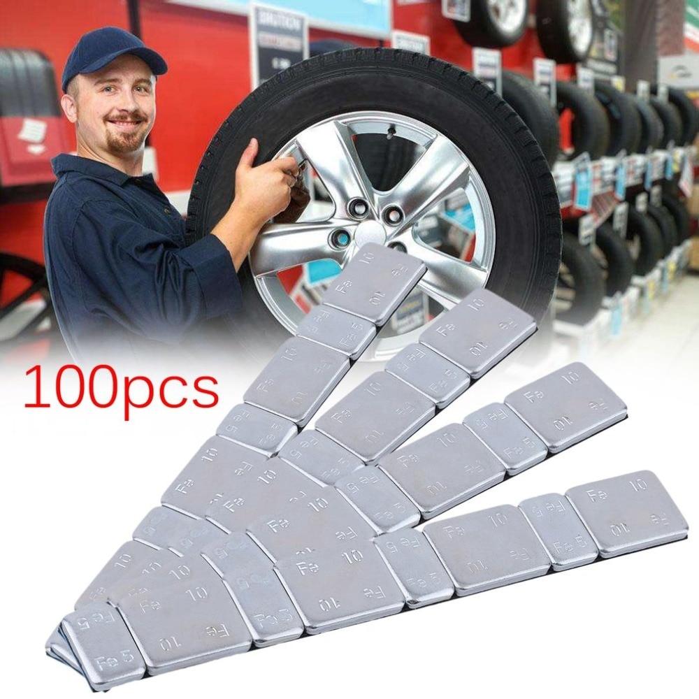 100PCS/SET Car Tire Balance Block Plastic Coated Steel Adhesive Lead Free 60g Weights Motorbike Strips Stick On Wheel Balance on balance