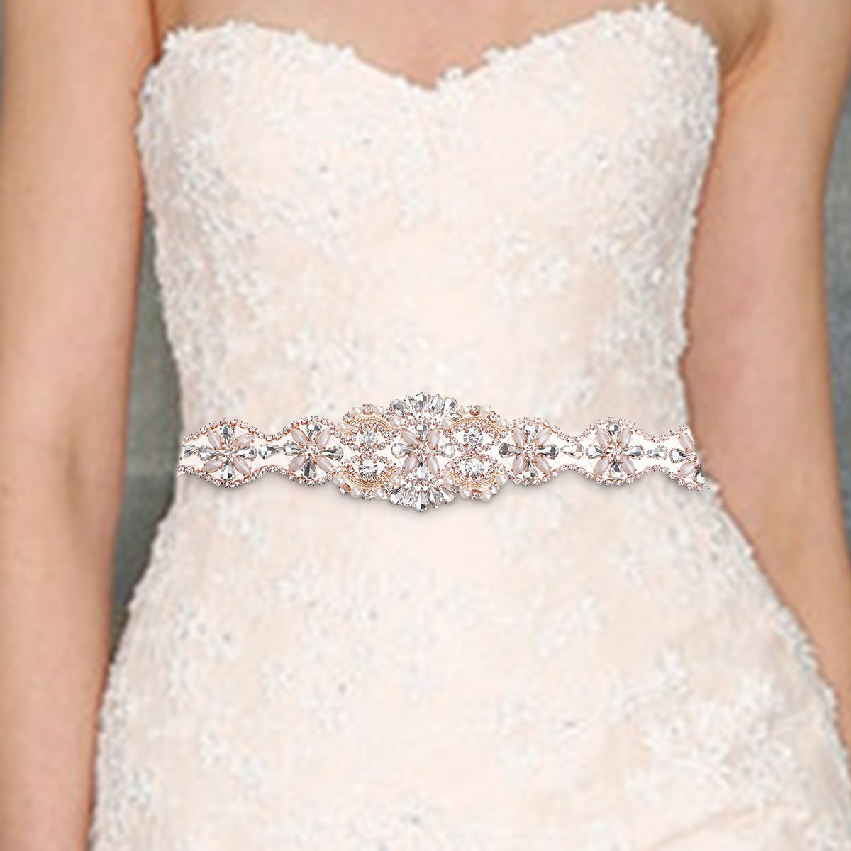 34cm DIY Crystal Applique Waistband, Women   Belt   Party Dress Sash Sewing Beaded Sparkle,Ribbon Waist Strap Rhinestone Accessories