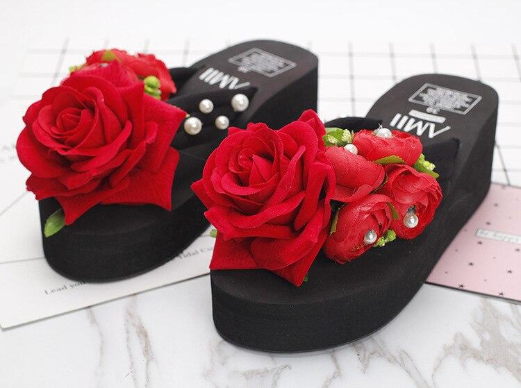 3263fe11716a18 ... Summer Style Red Rose Flower Sandals Womens Shoes Cheap High Heeled  Wedges Buy Platform Flip Flops ...