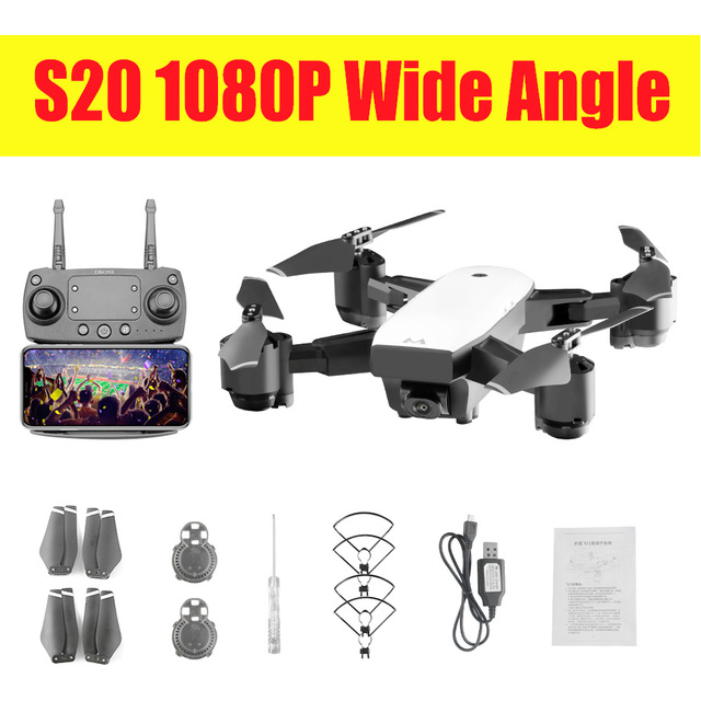 New Drone With wifi Camera 1080P or 720p 5MP Hover Helikopter pocket RC Drones S20  RC Quadcopter toys gift long actione time