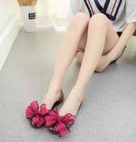 32 5000 Summer Women Large Flowers Transparent Crystal Ribbon Ribbon Butterfly Jelly Shoes Open Toe Flat