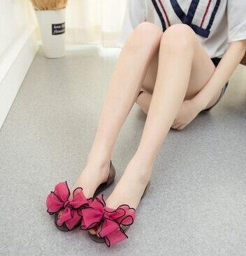 Női nyári nők nagy virágok átlátszó kristály szalag szalag pillangó zselés cipő nyitott lábujj lapos homokos strand női homok
