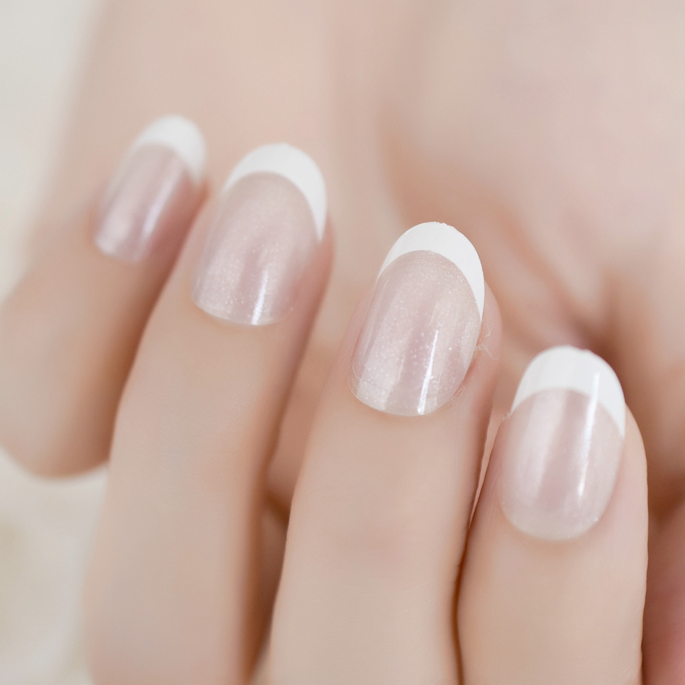 Aliexpress Com Buy White Crescent Fake Nails Press On