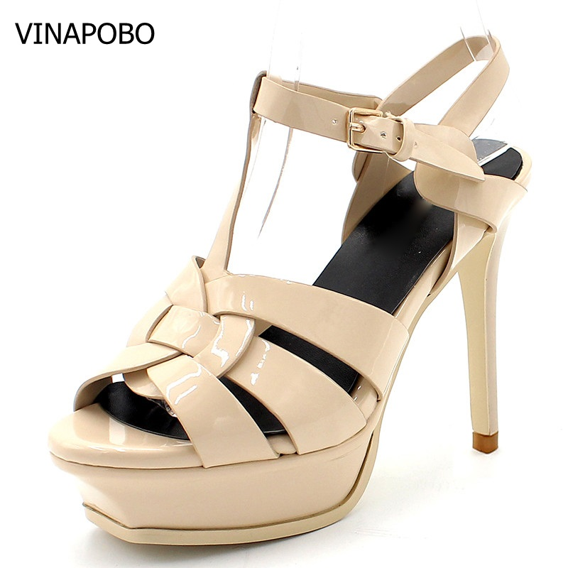 VINAPOBO Quality Genuine Leather High Heel Sandals Women Sexy Footwear Lady Shoes nudel Shoes Platform Party