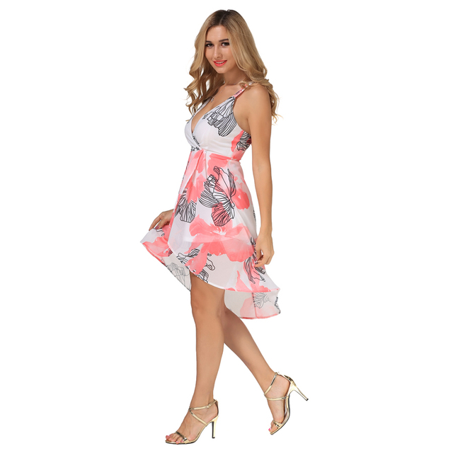 Fashion Chiffon Print Summer Dress Women Strapless Dresses Backless Deep V-Neck  Dress Sleeveless Party Sexy club Dresses