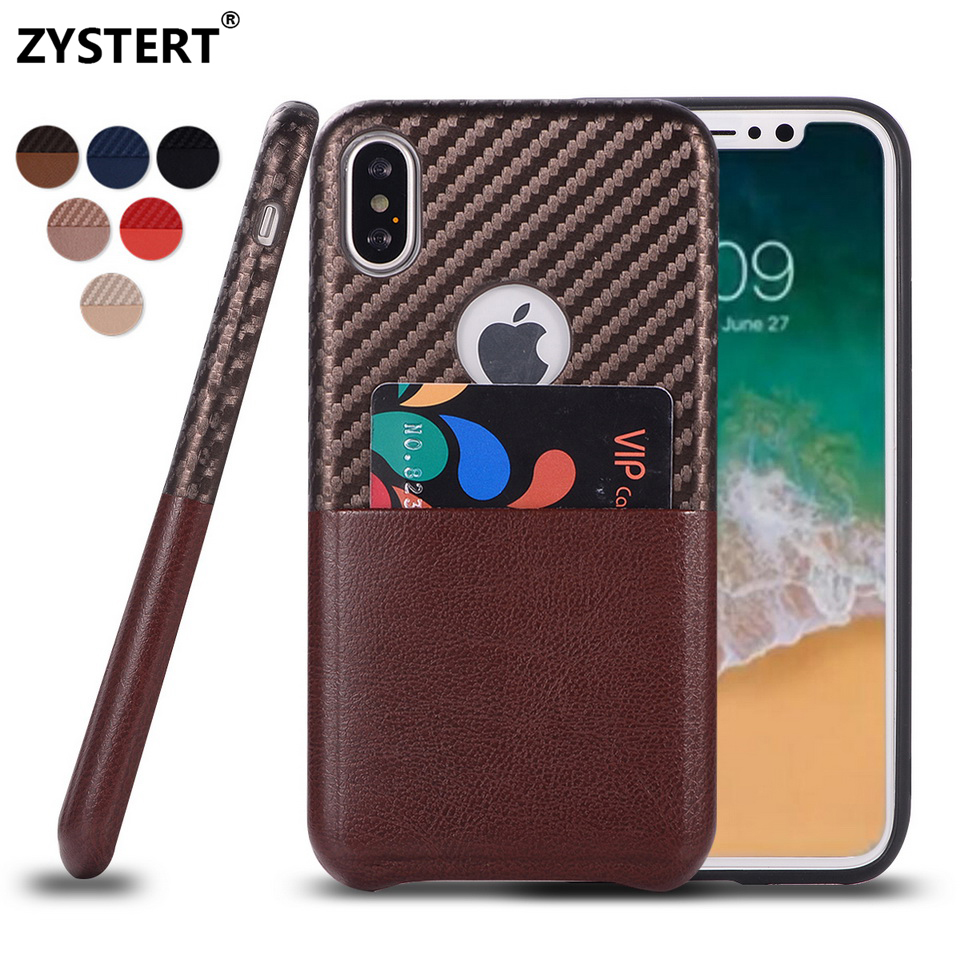 Leather Non-slip Silicone Case For iPhone X/10 Ten Luxury Business Style Leather ID Card Holder Back Cover For iPhone X/10 Funda