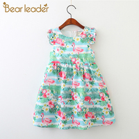 Bear Leader Girls Dresses 2018 New Summer Fashion Princess Leaves Flamingos Printing Design Fly Sleeve Girls