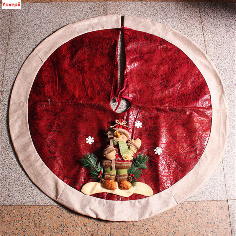 Christmas Decor Tree Skirt 3D Big Size 120120cm Suede Christams Skirts 6060 8080 Santa Claus Snowman Cotton In From Home