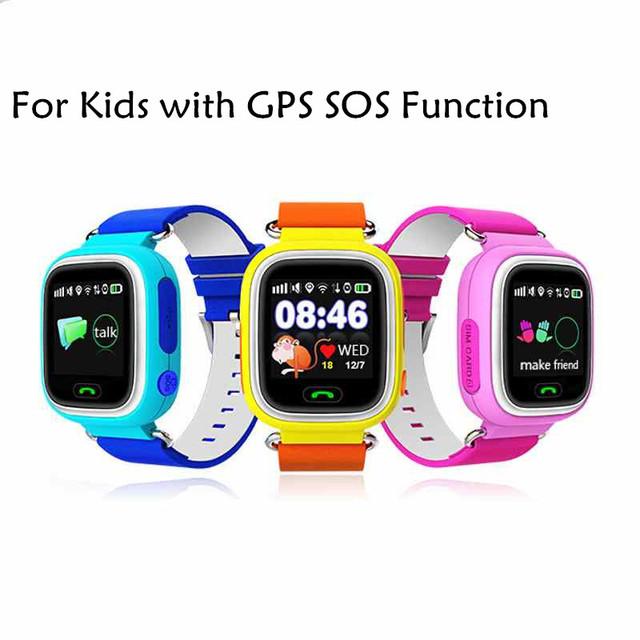 Q90 sos gps smart watch relógio com wifi tela sensível ao toque do bebê Local chamada Dispositivo Seguro Anti-Perdido Do Monitor Rastreador para o Miúdo Bonito relógio