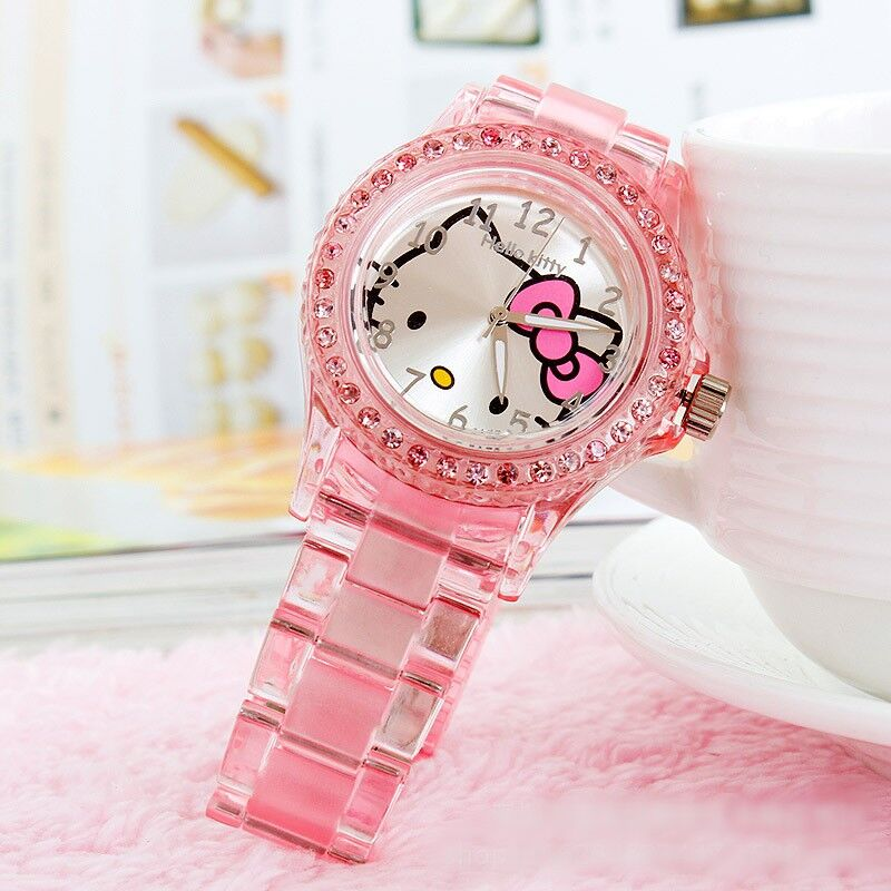 Children Watch Girl Transparent Crystal Cartoon Pink Kitten School Watch Kid Girls Party Dress Watch Gift Clock Relogio Feminino